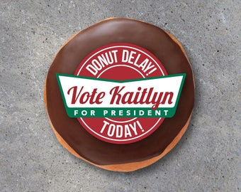 Election Campaign Donut Tags – Printable Tags personalized with your name and running title – Election Campaign Party – Party Favors – Vote