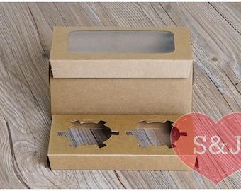 10x 2 holder cupcake/muffin/cake Brown Kraft Cardboard Boxes