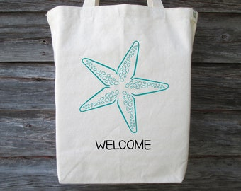 Wedding Welcome Bag, Starfish Tote, Wedding Guest Bag, Beach Wedding Tote, Welcome Bag, Starfish Tote Bag, Destination Wedding Welcome Bag