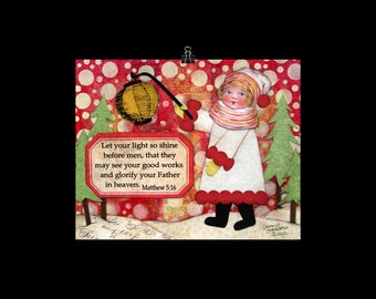 Let Your Light Shine - Mixed Media Christmas Print by Sharon Sudduth 8x10 inch