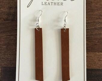 Modern Brown Leather Earrings