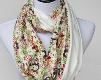 Frida Kahlo scarf, Frida infinity scarf, skulls scarf, reversible ivory white scarf,Amor scarf, loop scarf, gift for women and teen girls