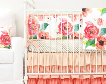 Boho Chic White and Coral Floral Ruffle Designer Baby Bedding | Floral Crib Set | Baby Bumpers | Ruffle Crib Skirt | Coral, Peach, Gold