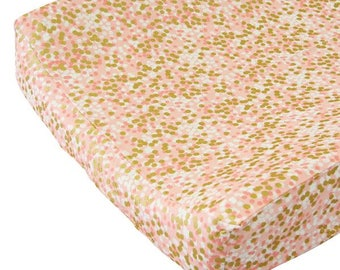Coral & Gold Sparkle Changing Pad Cover