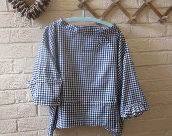 Lagenlook,,oversized,pure cotton black gingham top,tunic,longer sides,quirky pockets,bow,raw edges,one size  up to size 18,hippy,boho