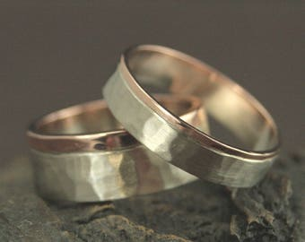 Two Tone Wedding Band Set--His and Hers Wedding Rings--Handmade Wedding Rings--Handmade Wedding Bands--Hammered Wedding Bands--Hammered Ring