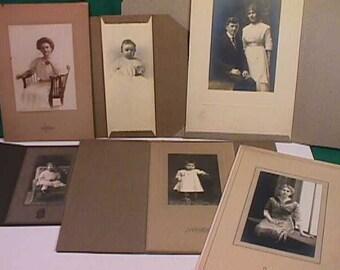 Eighteen (18) Vintage 1800's & 1900's Black and White Studio Photos Women, Children, Wedding