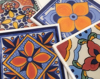 Mexican Flor Tile Coaster Set