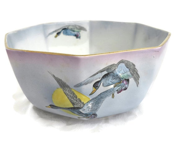 Antique ceramic bowl, Burleigh Ware, 8 sides, hand painted ducks on outside and inside of bowl, large, England, number 2096, 1906 - 1912