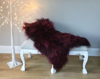 SALE! Burgundy sheepskin throw, deep dark plum coloured, Icelandic fur rug chair cover, bed cover,  red, hygge, fur , long hair , red wine