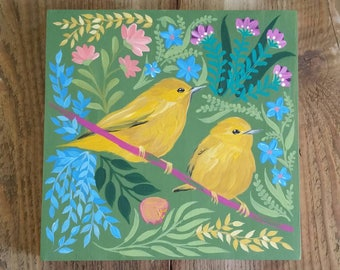 Spring bird painting on wood - handpainted decor