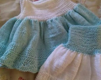 Blue and white knitted dresses, crocheted edging