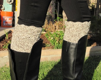 100% Wool Boot Cuffs and Ear Warmer - Crochet Boot Toppers - Women's Leg Cuffs - Boot Socks - One Size Fits Most