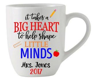 Big Heart / Shape Minds Teacher Gift Coffee / Tea Mug from Student