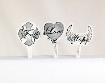 12 Faith Hope Love Cupcake Picks Toppers Party Favors Cake Decorations