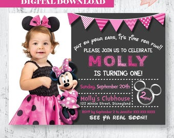 Minnie Mouse Invitation.Minnie Mouse Birthday Invitation.Minnie Mouse Invitation .Pink Minnie Mouse Invitation.Minnie Mouse Photo Invitation