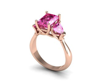 14k Rose Gold Classic Engagement or Wedding Ring with  Pink Saffhire Item # RFW-000-X-14