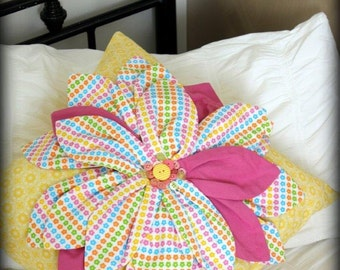 Cushion / Flower / Accent pillow for home décor / Nursery décor / Style can be Custom made in your choice of colors