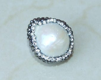 Freshwater Pearl and Pave Bead - Natural Pearl Pendant - 19mm x 22mm - 3457