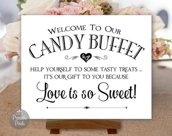 Candy Buffet Printable Wedding Sign, Black and White, Choose Your Size (#CBU1B)