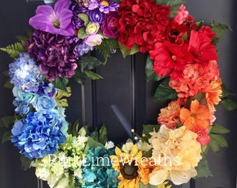 Rainbow wreath for front door, rainbow summer wreath, rainbow decor, hydrangea front door wreath, rainbows
