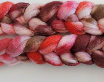 Polwarth-Silk,Liebeszauber, top,handpainted dyed, roving for spinning and felting