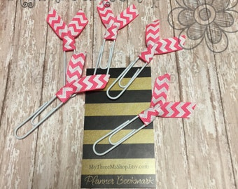Pink Chevron Ribbon Bookmarks, supplies for planner, gift for teachers, book lover bookmark, planner paperclip, chevron planner bookmarks