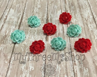 Red Aqua Magnets Tack Set, Decorative Tacks Magnets, Wedding Decor, Housewarming gift, Office Board, Flower Push Pins, Fun Floral Magnets