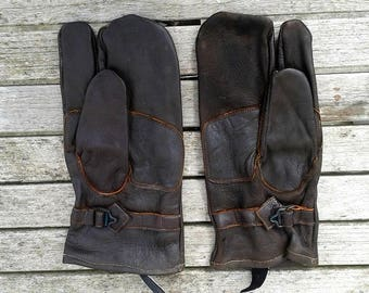Vintage Swedish Army brown leather sniper mittens gloves military trigger finger