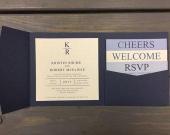 Square Wedding Invitation, Modern Square Invitation, Modern Invitation Set