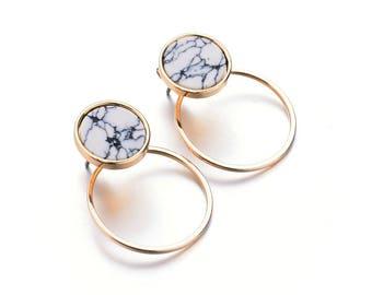 Double Layer Circle Marble Earrings / Ear Jackets