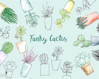 Watercolor clipart  Funky Cactus - Hand painted watercolor succulent plants and cactus in contemporary pots, vector illustration, jpg, png