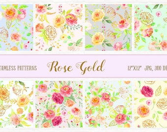 Watercolor Digital Paper Rose Gold,  watercolor background, rose pattern, digital background  for instant download