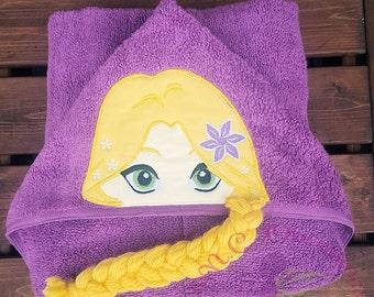 Long Haired Princess Hooded Towel, Tangle Hooded Towel, Rapunzel Hooded Towel, Rapunzel, Tangle