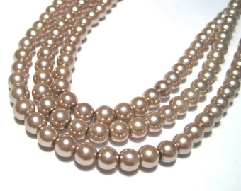 1 strand Brown Glass Pearl Beads 4mm Round