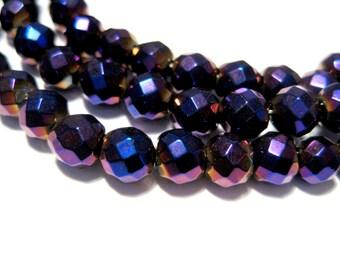 50pcs Iris Purple Faceted Round Hematite Beads Non-magnetic 5mm Stone Beads