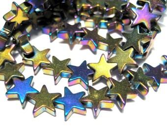 50pcs Rainbow Iris Star Hematite Beads Non-magnetic 8mm stone beads