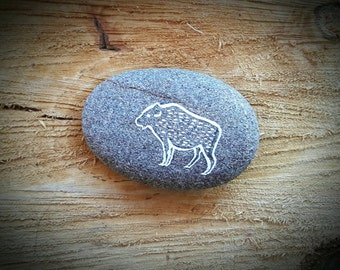 Hand Painted Buffalo Art Pebble Decoration Totem - MADE TO ORDER