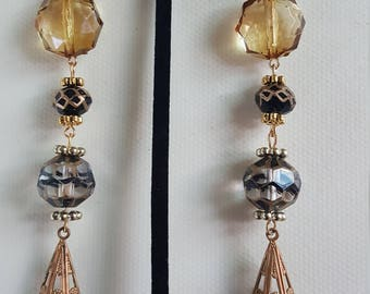 Smoky Quartz Color and Glass Beaded Chandelier Earrings/Girls Night Out/Gift for Her/Birthday