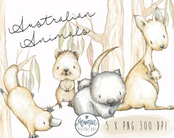 Australian animals clipart, Kangaroo, Wombat, Platypus, Quakka, Mother and baby, nursery animals, watercolor, baby clipart, planner stickers