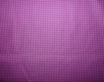 SALE - Magenta and black tiny check cotton fabric