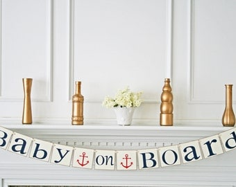 Baby on Board Baby Shower Banner, Nautical Theme Baby Shower Decorations, Red & Nany Blue / Ivory Cardstock, Personalized Colors, Its a Boy