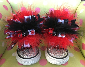 Ladybug Shoe Bows or Pigtail bows