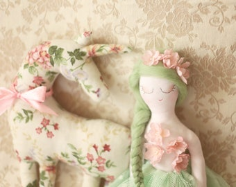 Set of 2 rag dolls Princess doll and her Unicorn 24 in/60 cm, Handmade Fabric Unicorns plushie, cloth dolls, tulle tutu skirt, room decor
