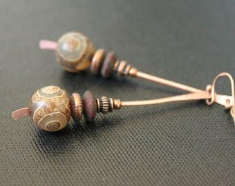 Handmade Bohemian Earrings - Matte Agate Earrings - Copper - Czech Glass Earrings - Tribal Gypsy - Boho - Spiritual - Yoga Style Jewelry