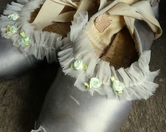 vintage shabby chic soft blue pointe ballet shoes
