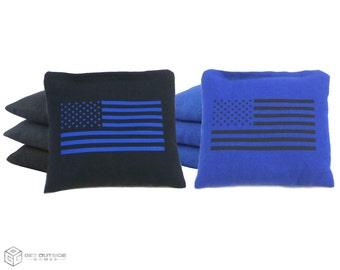 8 Black & Blue Flag Classic Series Cornhole Bags | Corn or All Weather