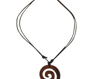 Wooden necklace, black necklace made of cotton with a spiral-shaped Brown wood trailer from Sonoholz, hand-carved, 4 cm Ø (KH-32)