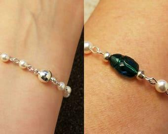 Swarovski Emerald Scarab Bracelet, Swarovski Crystal Scarab and Swarovski White Pearls bracelet