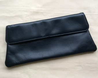 Vintage 70s navy leather clutch bag, Small navy leather bag, navy purse, Adrian Gold London, 1970s purse.
